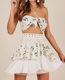 White floral ties strapless top and flare shape contrast mini dress for woman