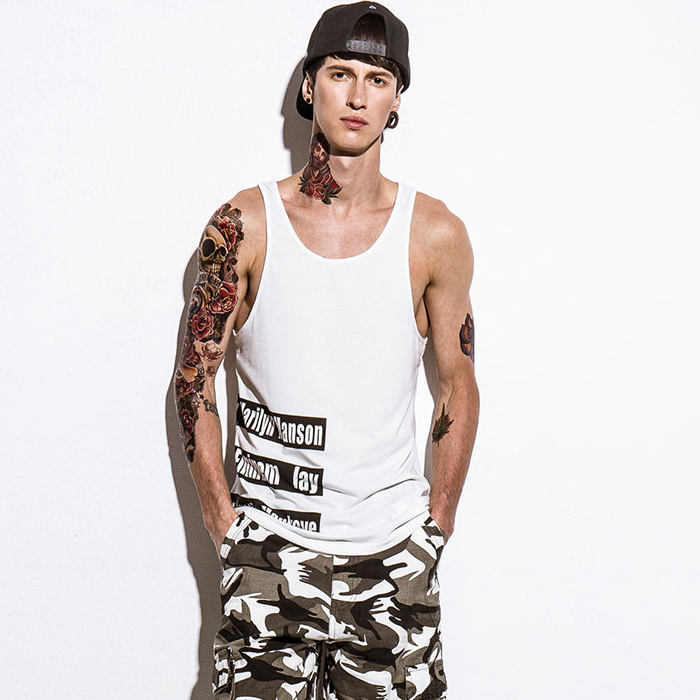Fashion printed wholesale mens string vest