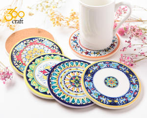 Bohemian Style 360 CRAFT 6-Piece Absorbent Spills Stone Ceramic Coasters Set For Drinking