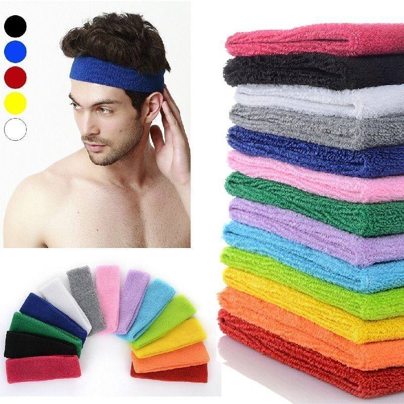 Wholesale 80%cotton 20% Elastic material cotton terry towel sport headband