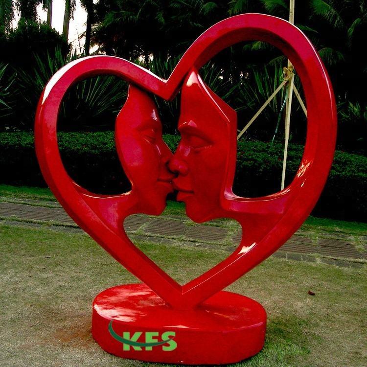 Fabrica Personalizado de Metal Ao Ar Livre 304 Jardim Amor Beijo Escultura de Aço Inoxidável