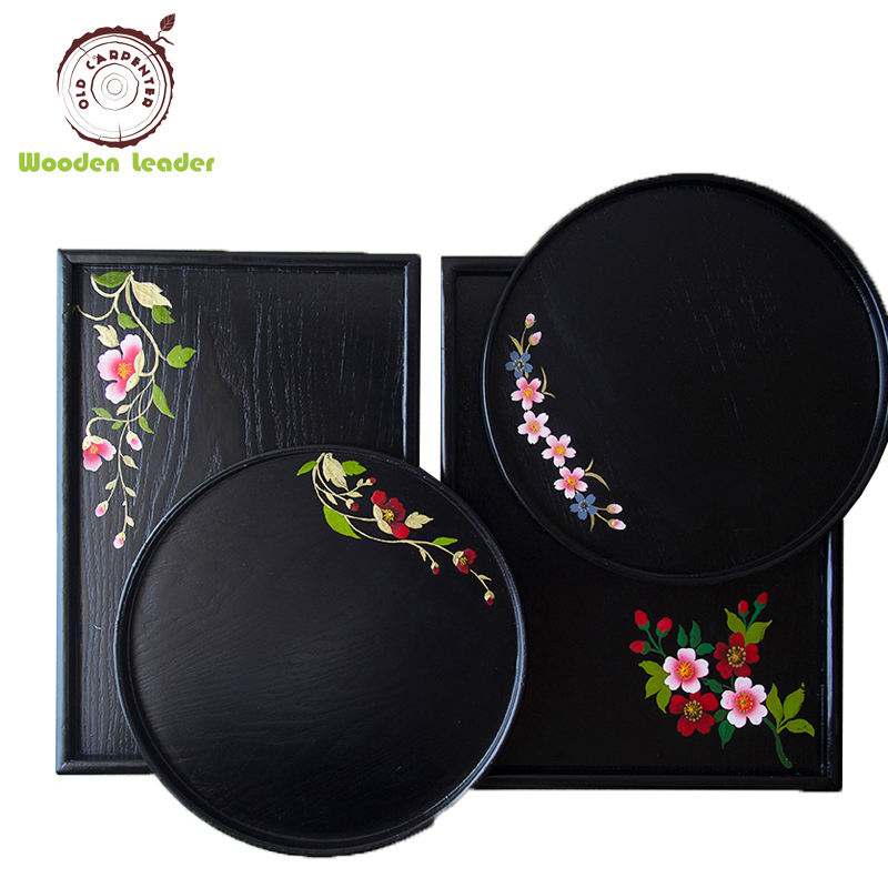Wholesale Biodegradable Wood Lacquer Lunch Tray Serving Tray