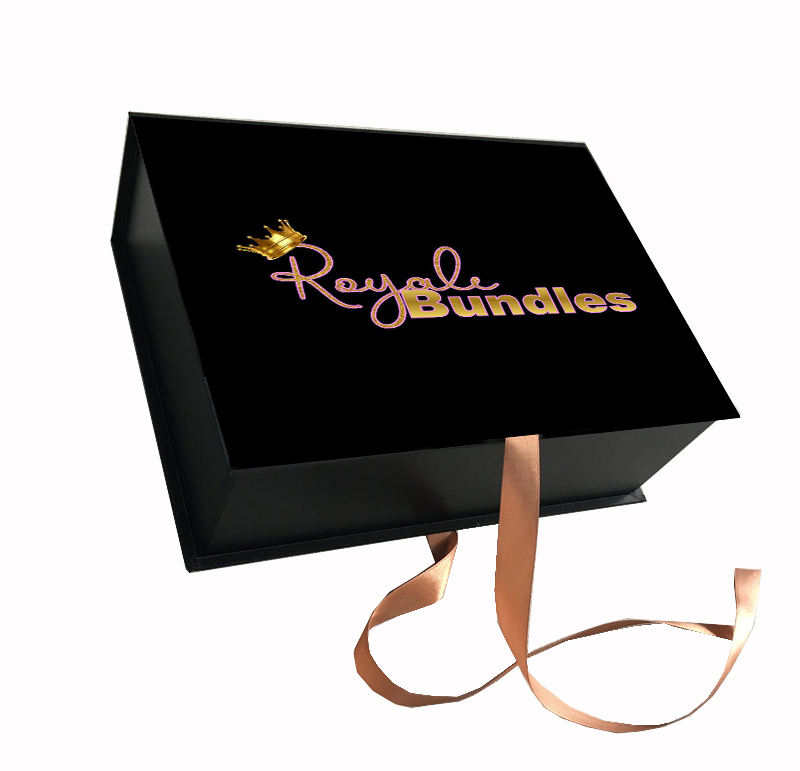 Luxury Customized Logo Glitter Bundle Hair Extension Packaging Box With Logo