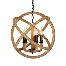 American rustic iron hemp rope ball pendant light for bar/cafe decoration
