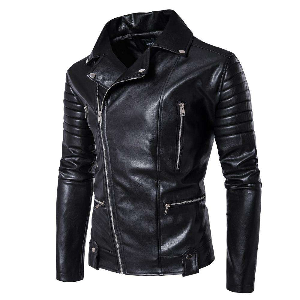 OEM classic popular best quality solid color slim fit men moto leather jacket