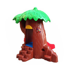 Kindergarten Large Indoor and Outdoor Forest Magic House Magic Tree Slide Game Playhouse Garden Plastic Slide for sale