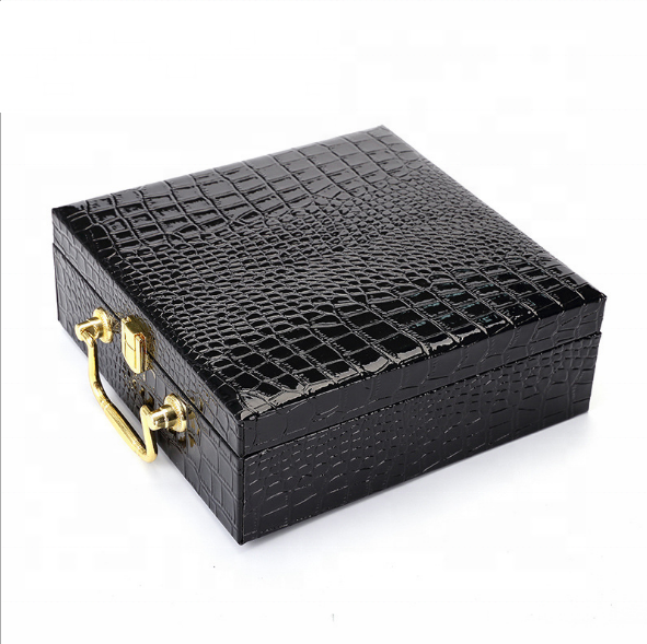 Wholesale Luxury Perfume Bottle Black Leather Box Packaging with Metal Handle