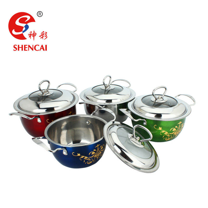 China Product Stainless Steel Canning Pot Hot Pot Colorful Stock Pot