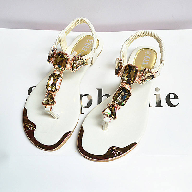 Women Luxury Design Hot Sale Summer Rhinestones Toe Back Wrist Wraps Flip flops Flats