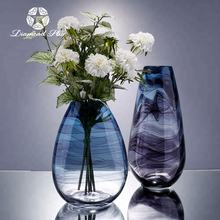 Diamond Star handblown wholesale blue swirl color glass vases for home decoration