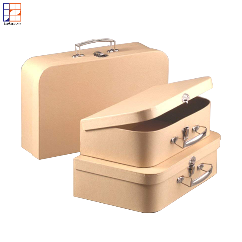 Brown kraft paper mache nesting suitcases gift box OEM