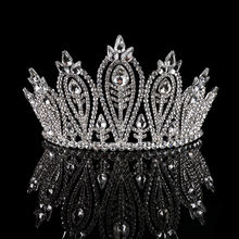 Queen Head Jewelry Girl Wholesale Tiara Rhinestone Hair ballet accessories big Round wedding shining Bridal crystal Silver crown