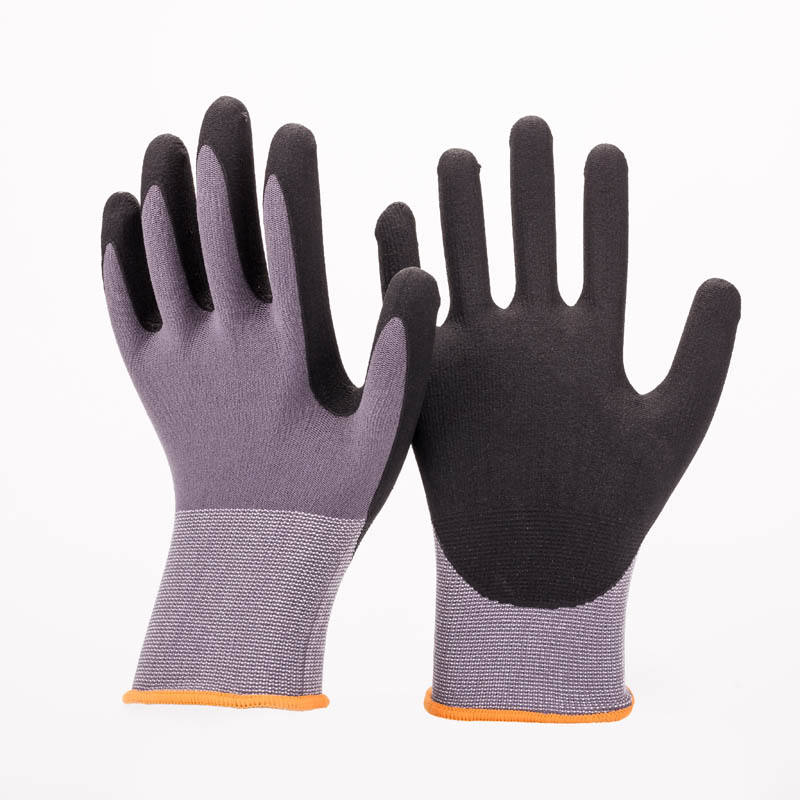 Good Flex En388 4131 Nylon Spandex Knitted Black Sandy Nitrile Work Gloves Sandy Nitrile Coated nbr Rubber Gloves Construction