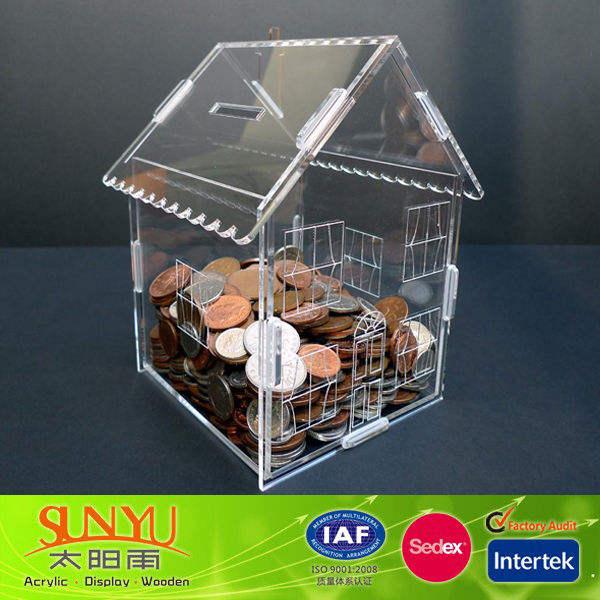 New clear acrílico <span class=keywords><strong>casa</strong></span> de dinero en efectivo en forma de caja de almacenamiento/de acrílico de plástico caja de dinero en