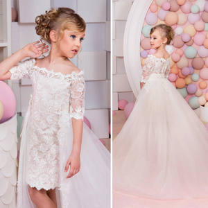 BL123A Putih Renda Gadis Removable Dresses 2017 Ball Gown Belt Lantai Panjang Gadis Komuni Pertama Gaun Party Dress
