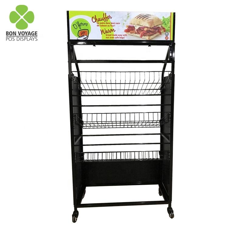 Free standing multi tiered metal rack bread display shelf for bakery