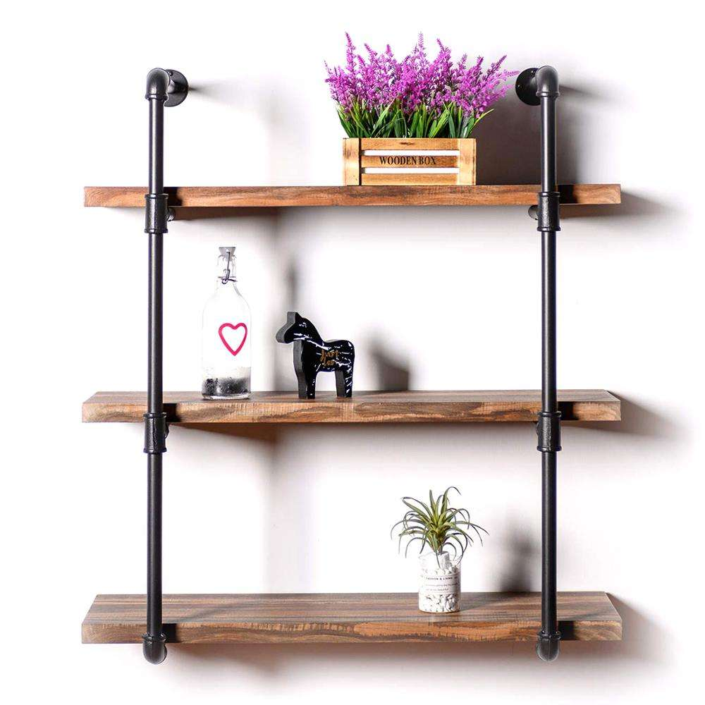 Industrial Shelving Pipe Shelf 3-Tier, Wood and Metal Frame, Rustic Home Decor Wall Decor, Wall Shelves for Living Room,Bedroom