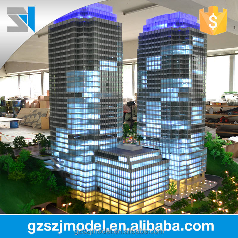 Outstanding 3d architecture model for commercial highrise, miniature building model with led light