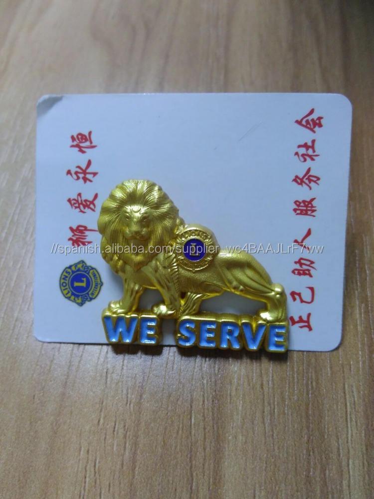 3D lion forma insignia pin para el miembro del club <span class=keywords><strong>internacional</strong></span> de león de oro
