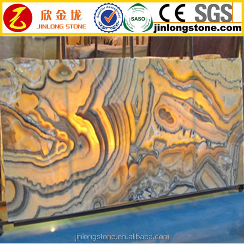 Transparent Yellow Dragon Onyx With Pink Veins Book Match Marble Slabs And Tiles