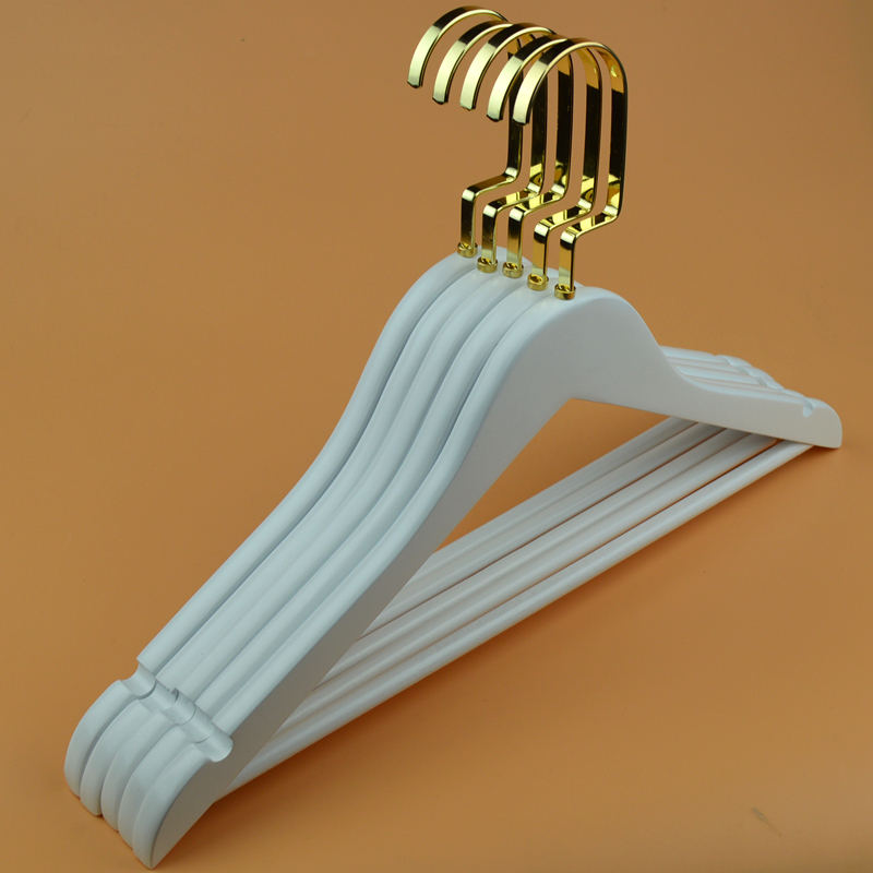 clothes hanger Factory sales white delicate gold hook wooden coat hanger