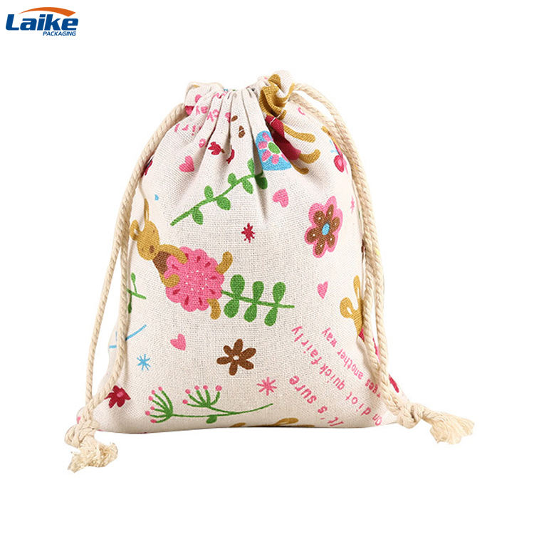 Custom canvas cotton jute eco friendly material travel beach cosmetic storage drawstring makeup bag