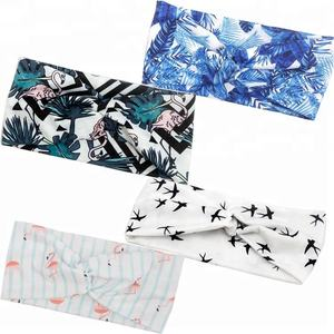 4 Pack Boho Vintage Elastic Hair Band Women Floral Style Baby Printed Cross Headband