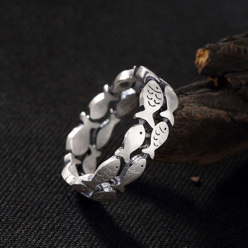 990 Sterling Silver Two Rows Hollow Swimming Fish Animal Rings For Women
