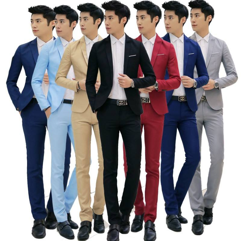 YSMARKET 8 Color M-3XL Mens Clothing Set Two Piece Fashion One Button Business Casual Slim Fit Suit Coat And Long Pants ETZ03