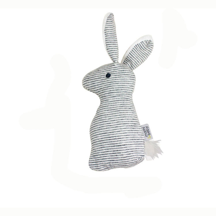 Gray Cute Rabbit animal Rattle Stick Squeaky Baby Toy