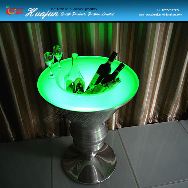 led light wine cooler, ice bucket table, led bar table