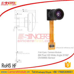 8MP 190 degree wide angle module Fisheye lens mini Fish eye camera