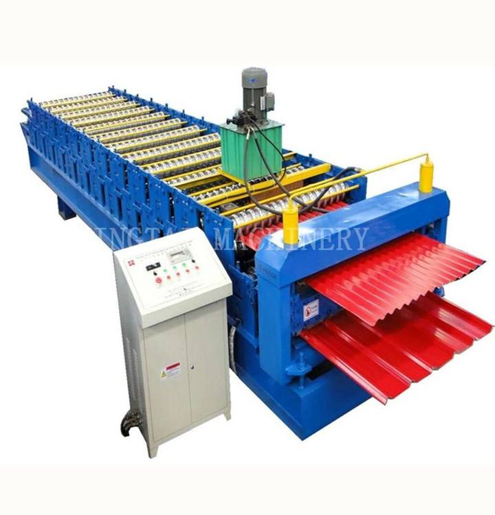 Two Heads Double Layers Metal Glazed Roof Roller Forming Machinery