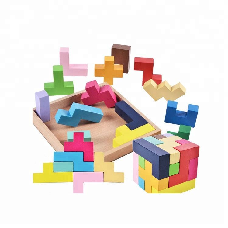 3D Wooden Puzzle Toys,Brain Teaser Toy Block Puzzle,Custom Magic Puzzle Cube