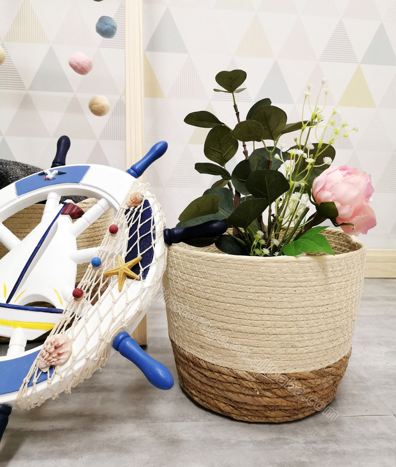 woven sea grass laundry basket decorative storage hamper sea grass basket with paper rope