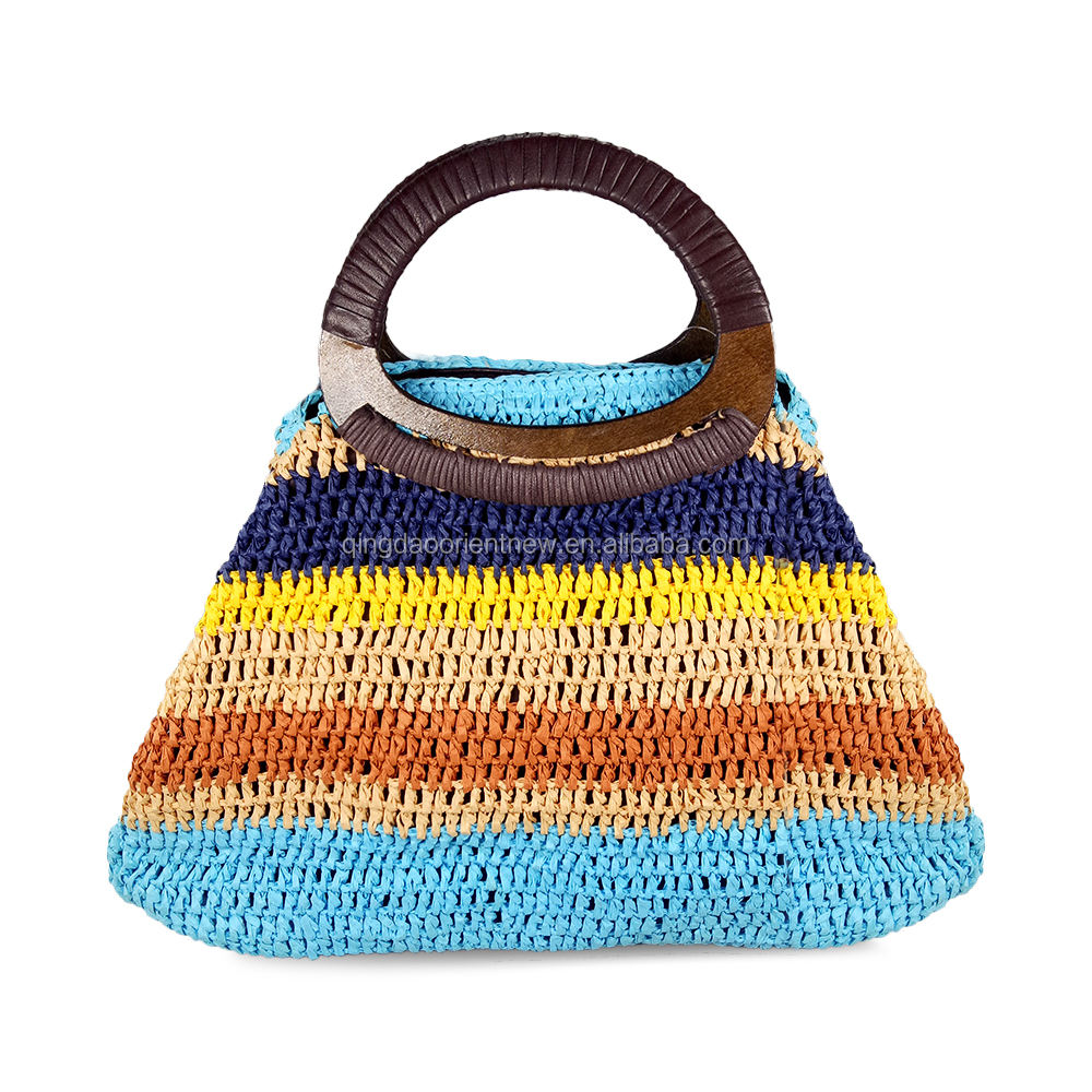 China lieferant neues design holzgriff bunte straw tote bag