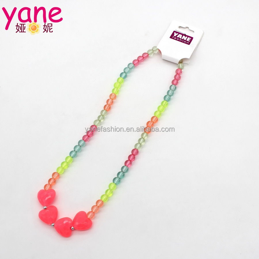 Heart [ Heart Jewelry ] Colorful Beaded Necklace Different Color Beaded Necklace Girls Pink Heart Shape Jewelry Accessory