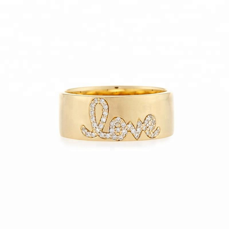 Fashion jewelry pave CZ diamond love letter 5 gram gold ring