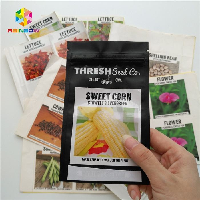 Glossy Sweet Corn Seed Packaging Adhesive Label Sticker For Plastic Bags