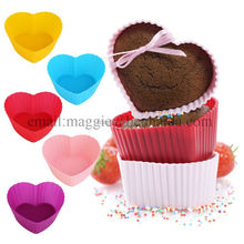 Colorful Heart Shape Cupcake Baking molds FDA Silicone Cupcake liners, baking cups