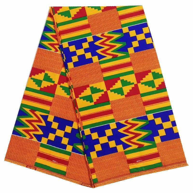 Hot selling african kente Print fabric 100% cotton batik cloth by 6 yards free shipping