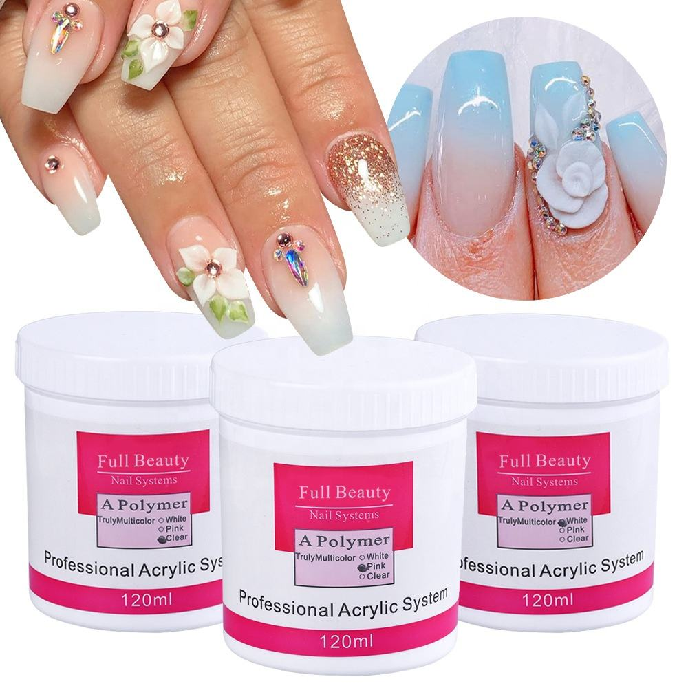 75g Acrylic Powder Clear Pink White Nail Crystal Powder 3D Acrylic Nails Tips Extension Builder Polymer for Nail System