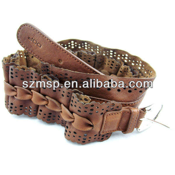 Ladies classic genuine leather belt with beautiful flounce