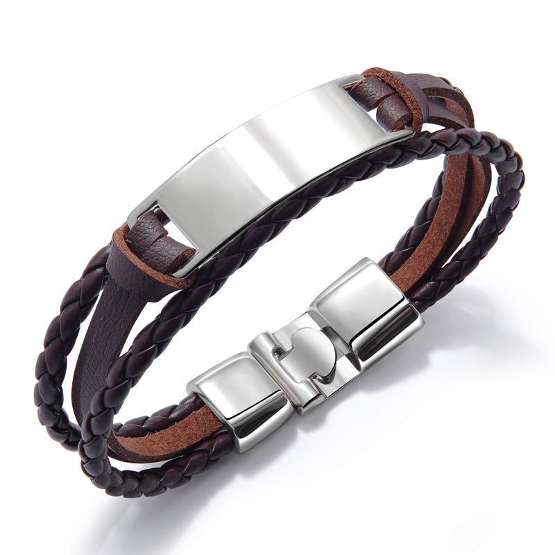 Bulk Custom Engraved Multilayer Leather Bracelet For Men