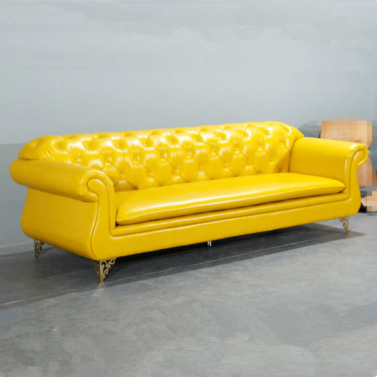 Modern living sofa furniture tufted leather elegant 3 seat yellow sofa