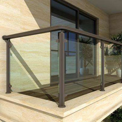 High rise building aluminum balcony railing with safety tempered glass