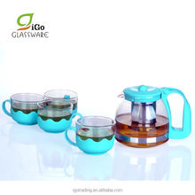 Chinese Style SS tea infuser glass green teapot and 4 Glass tea cut set