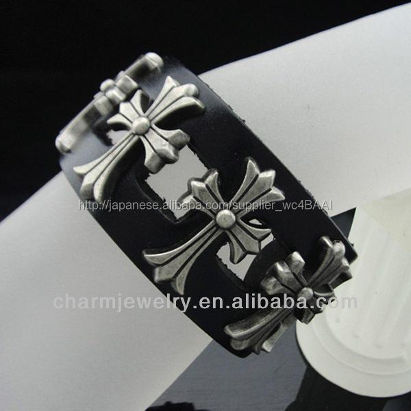 革のリストバンドハンドメイドジュエリーアンティークbgl-029男性の黒い本革のブレスレット