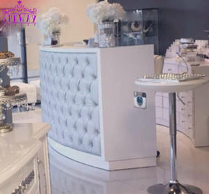 Luxury White pu leather covers salon reception desk for sale