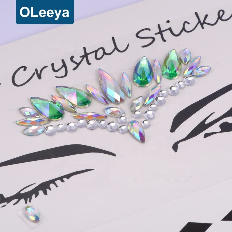 Factory Custom Gezicht Sieraden Sticker Lichaam Sticker Tattoo Crystal Glitter Stickers Gezicht Gems Voor Party
